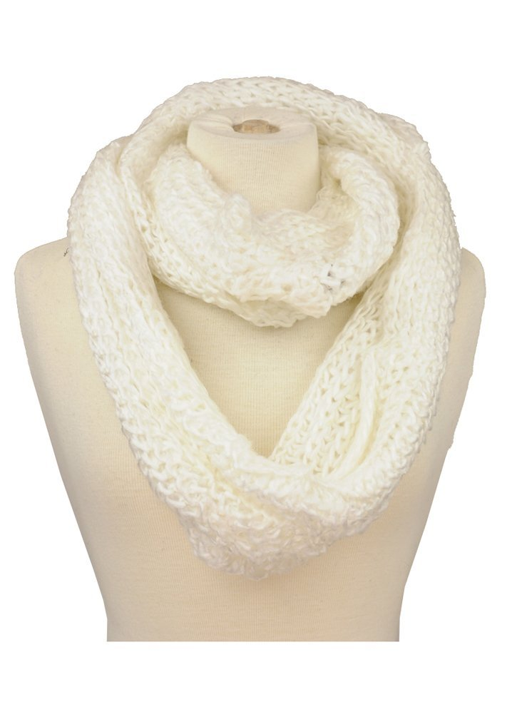 Colors: white brown. Sizes:  onesize ... Stylish unisex chunky cable knit infinity scarf. Is available in red, black, white, navy blue, purple