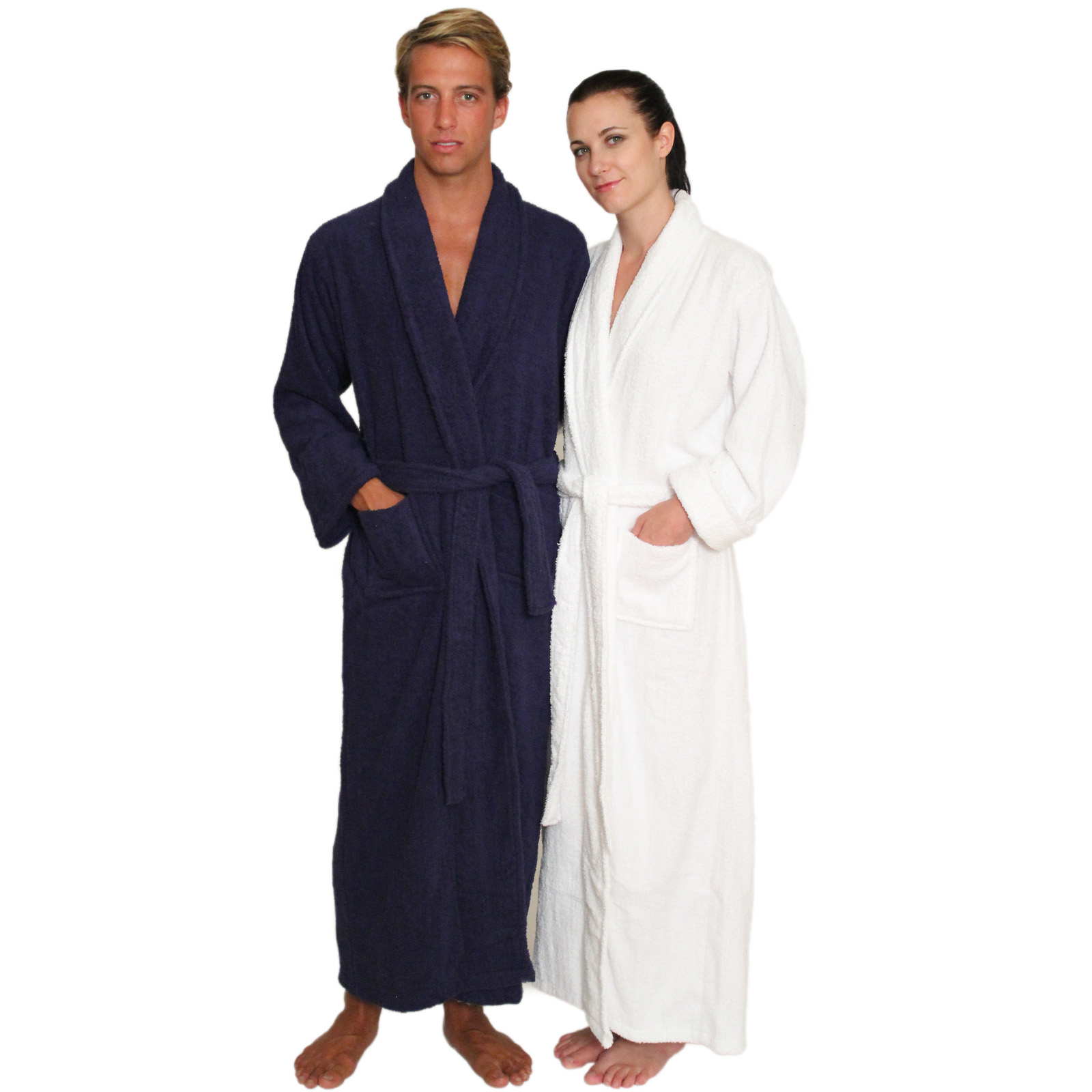 Full Length Terry Cloth Robe Long Sleeves 100% cotton $49.99 Colors: Navy-S/M White-S/M. Sizes:       Made from very fine yarn in medium weight terry cloth. This full length terry cloth robe makes ffor a