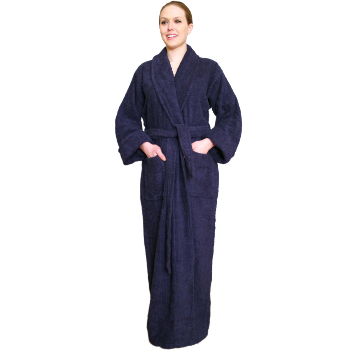 Full Length Terry Cloth Robe Long Sleeves  100% cotton Colors: SkyBlue Navy White. Sizes:  S/M L/XL 2X/3X     Made from very fine yarn in medium weight terry cloth. The hooded robe is roomy with long sleeves and