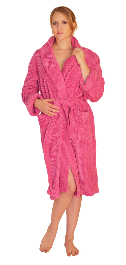 Chenille Robe Mid-Calf Length Wide Ribbed - $49.99 Colors: White-L/XL White-2X/3X Fuchsia-2X/3X Mint-2X/3X Navy-2X/3X SeaGreen-2X/3X Teal-2X/3X. Sizes: