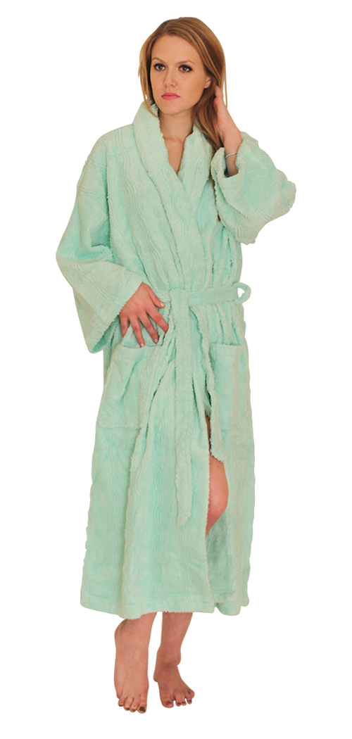 Chenille Robe: Intricate Wavy Design - $29.99 Colors: Mint-Regular  White-Plus Turquoise-MissyOneSize. Sizes:   ... This chenille robe has a very exclusive, intricate and elegant wave design woven into the fabric stru