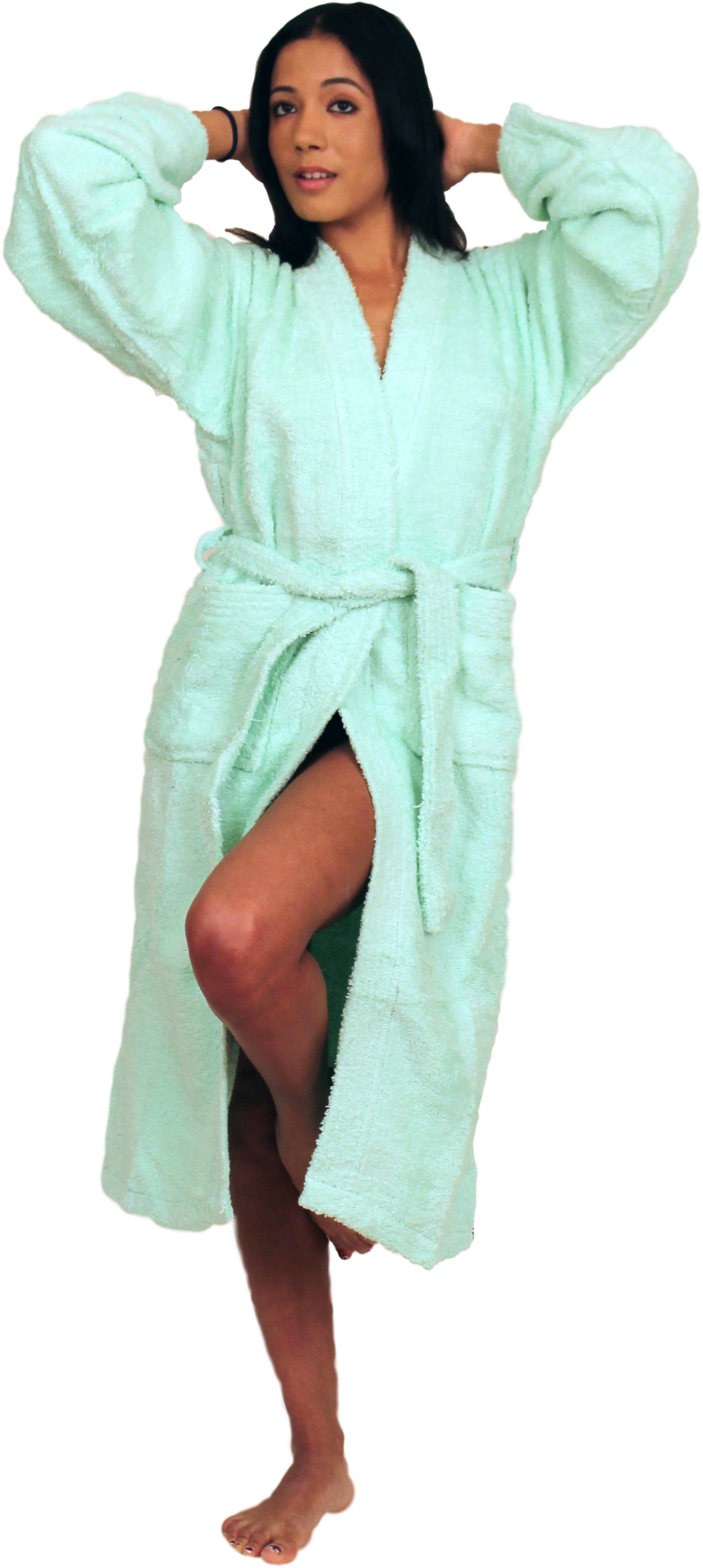 Men's and Women's Loop Terry Kimono Robe  - $29.99 Colors: Mint-S/M Mint-Regular  Navy-S/M Navy-Regular Teal-S/M Teal-Regular Teal-Plus(+5) White-S/M White-Regular White-Plus(+$5). Sizes: