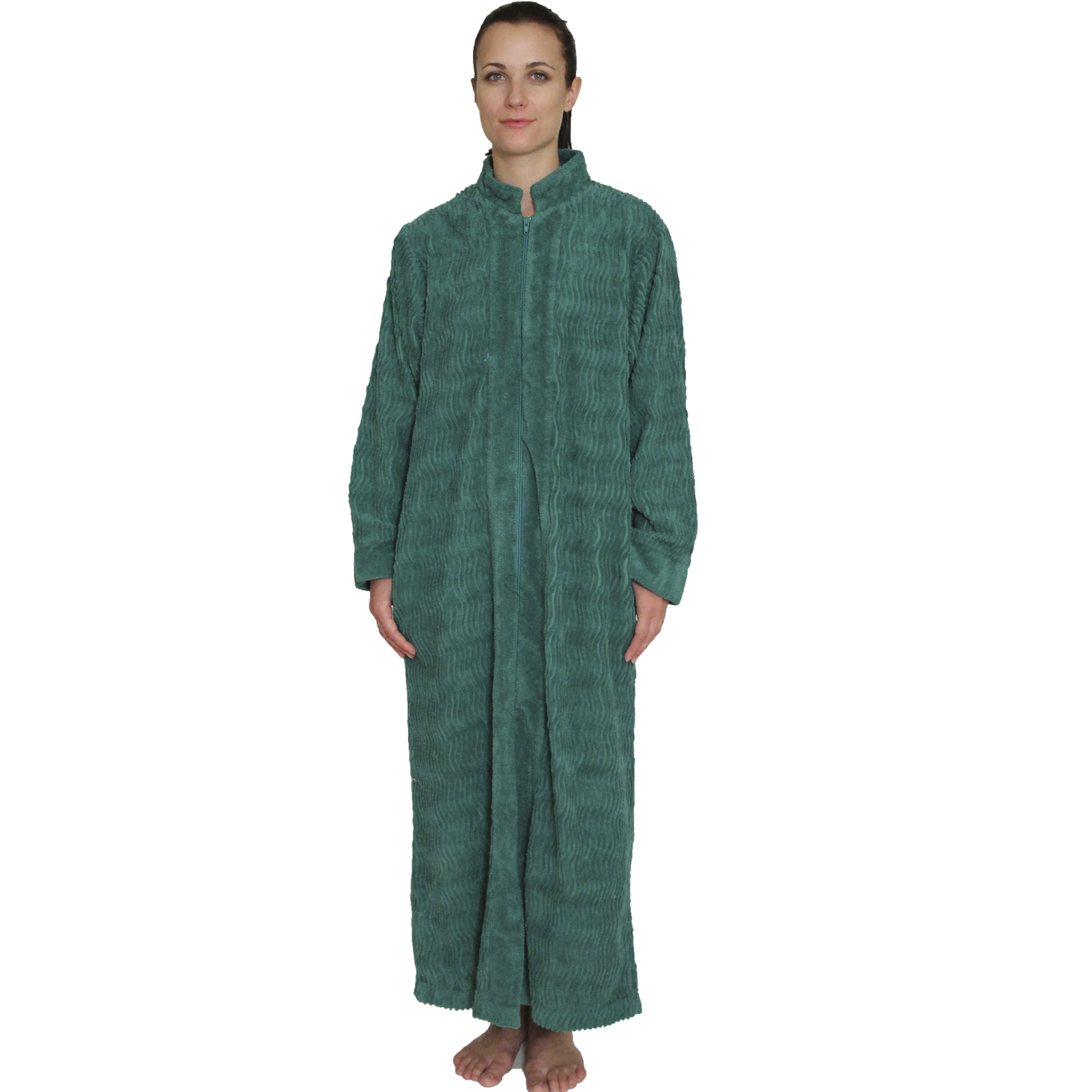 Full Length Chenille Robe With Zip Front