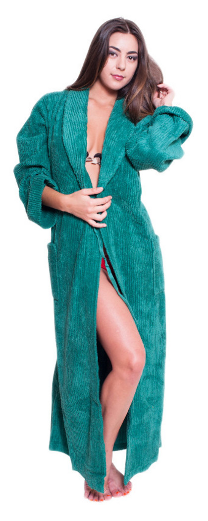Womens Full Length Wide Ribbed Chenille robe- $59.99 Colors:  Fuschia Green Lilac Navy SeaGreen Teal White . Sizes:   S/M L/XL 2X/3X(+$5)