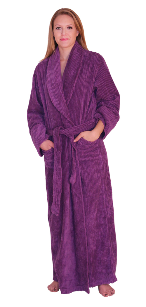 Womens Full Length Wide Ribbed Chenille robe- $59.99 Colors: Teal-Regular Teal-Plus Navy-Plus(+$5)  SeaGreen-Plus(+$5). Sizes: