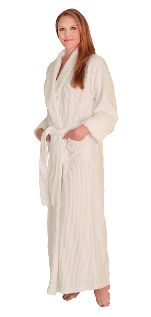 Womens Full Length Wide Ribbed Chenille robe- $59.99 Colors: Fuschia-S/M Fuschaia-Regular Fuschia-Plus(+$5) Teal-S/M Teal-Regular Teal-Plus(+$5) Navy-Plus(+$5) SeaGreen-S/M SeaGreen-Plus(+$5) White-S/M White-Regular White-Plus(+$5). Sizes: