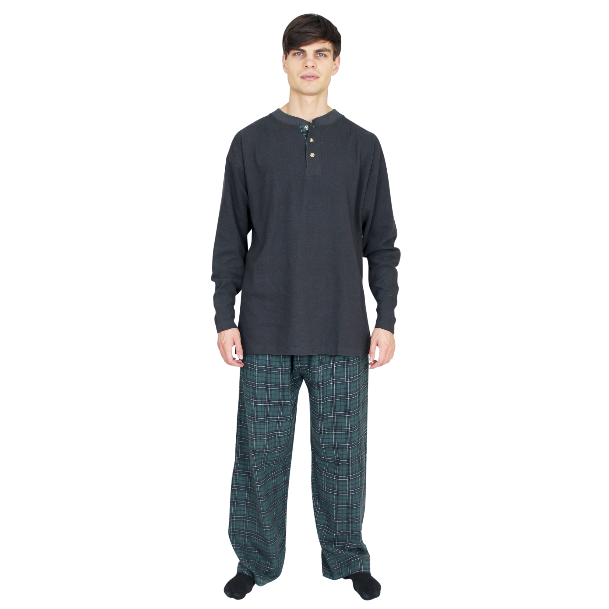 Men&#39;s Pajamas & Loungewear: Waffle/Flannel Set  - $24.99 Colors: Black/Blackwatch, Gray-Heather/Gray-Check. Sizes:  out of stock ... <p>Mens pajama set with structured waffle knit top and 100% cotton yarn dyed flannel pant. The men&#3