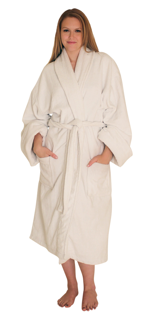 Women's Terry Velour Bath Robe Shawl Collar - $49.99 Colors: Burgundy-Plus(+$10) Hunter-Plus(+$10)  Pink-Plus(+$10) Navy-S/M Pink-Regular Pink-Plus(+$10)  White-Plus(+$10). Sizes: