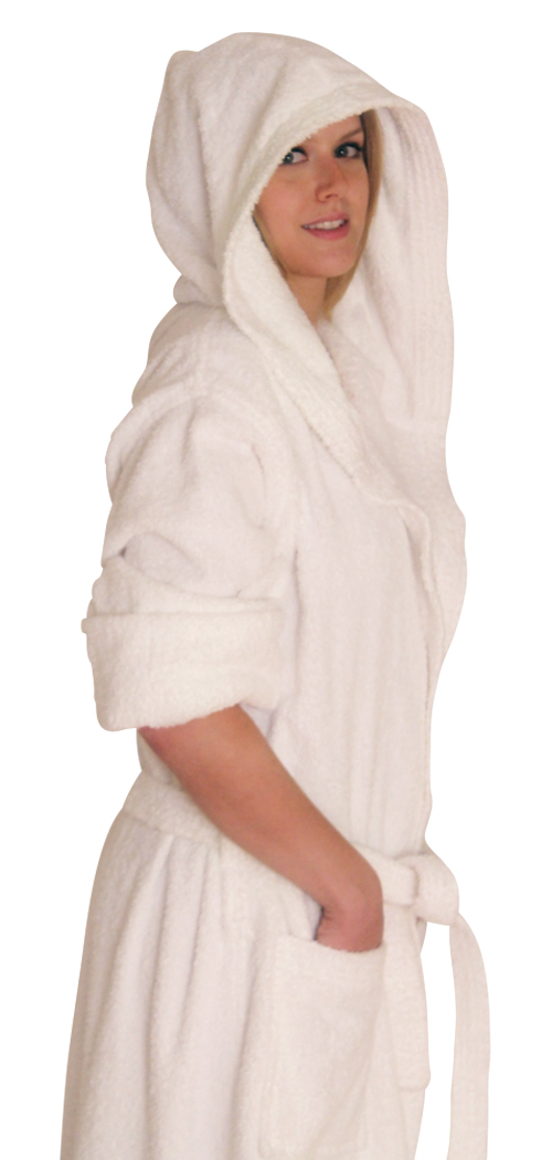 Hooded Terry Cloth Robe Long Sleeves  Mid Calf Length Colors: White. Sizes:  Regular (L/XL)     Made from very fine yarn in medium weight terry cloth. The hooded robe is roomy with long sleeves and
