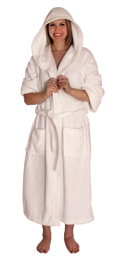 67743512910ac Hooded Terry Cloth Robe Long Sleeves Mid Calf Length Colors  Navy-2X 3X