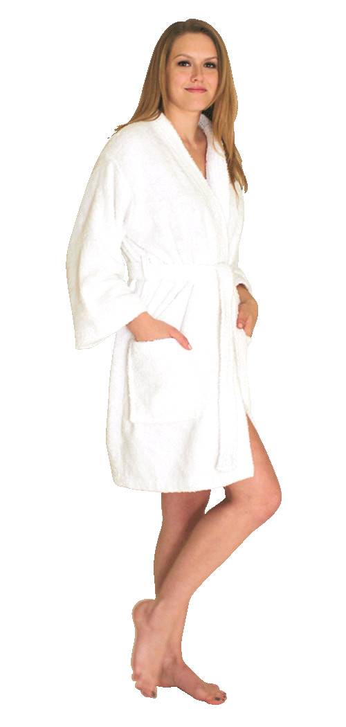 Swimsuit coverup; short terry bath robe - $24.99 Colors: White Pink. Sizes:  S/M Regular