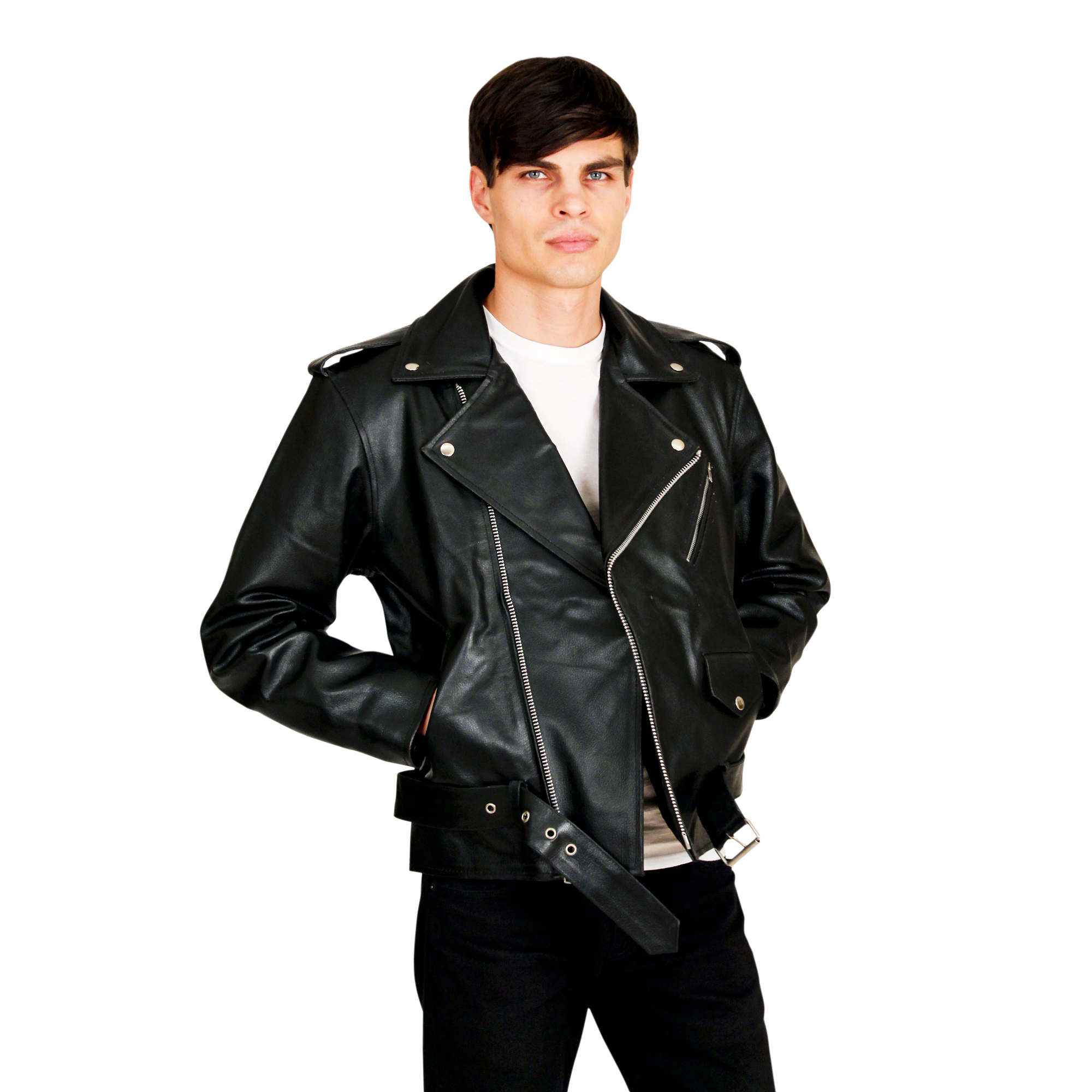 Men's Leather Biker Jacket  - $65 Colors: Black. Sizes:  Medium Large X-Large 2XL.(+$10) ... Men's Basic Biker Jacket in top quality cowhide leather with zipout quilted lining. Imported. Ava