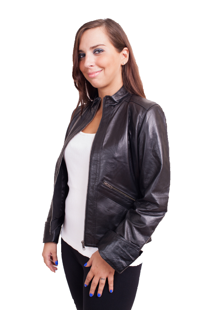 Leather Jacket Elegant Style Lambskin Jacket $150 Colors: Black. Sizes:  XS S M L XL 2XL(+$25)  3XL(+$30)     Fashionably forward in leather trends, butter soft leather, hipster wasit length lambskin jacket for
