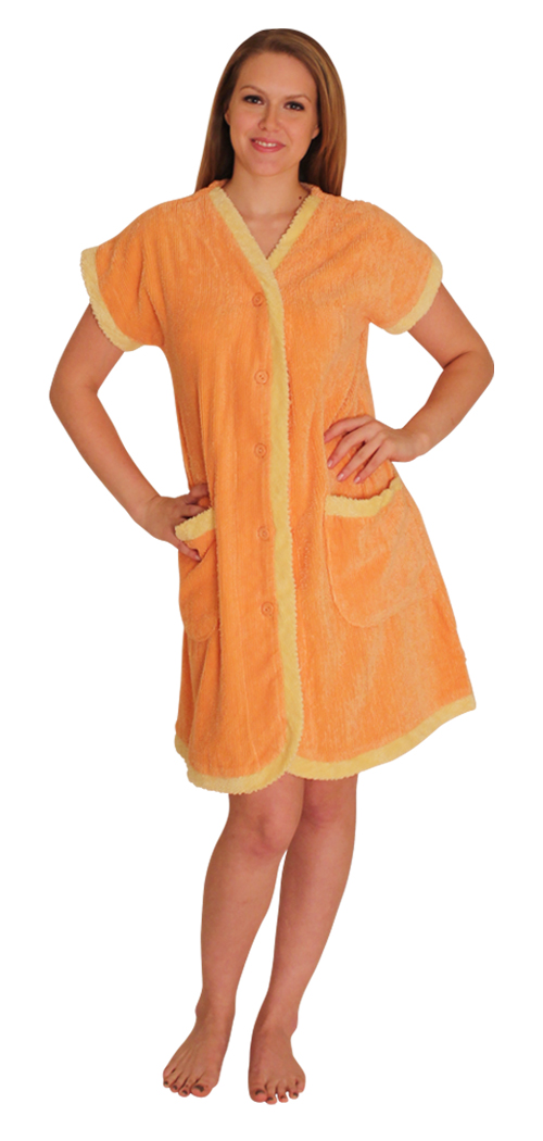 Chenille Robe with contrast facing, cuffs and pockets for $24.99 Colors: Lilac Orange Pink. Sizes:  S M L XL 2XL(+$10) 3XL(+$10)