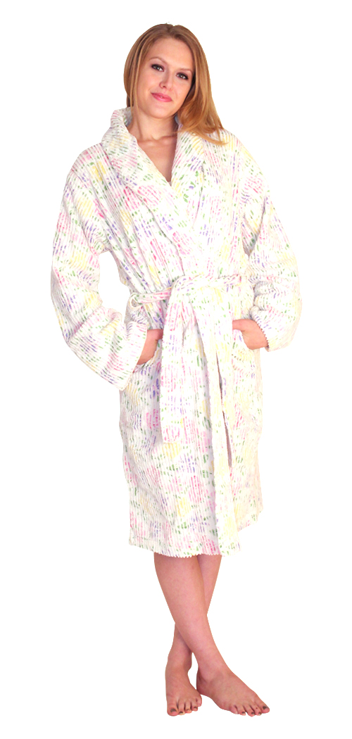 Printed Chenille robe for women Colors: PinkPrint LilacPrint. Sizes:  S/M Regular Plus
