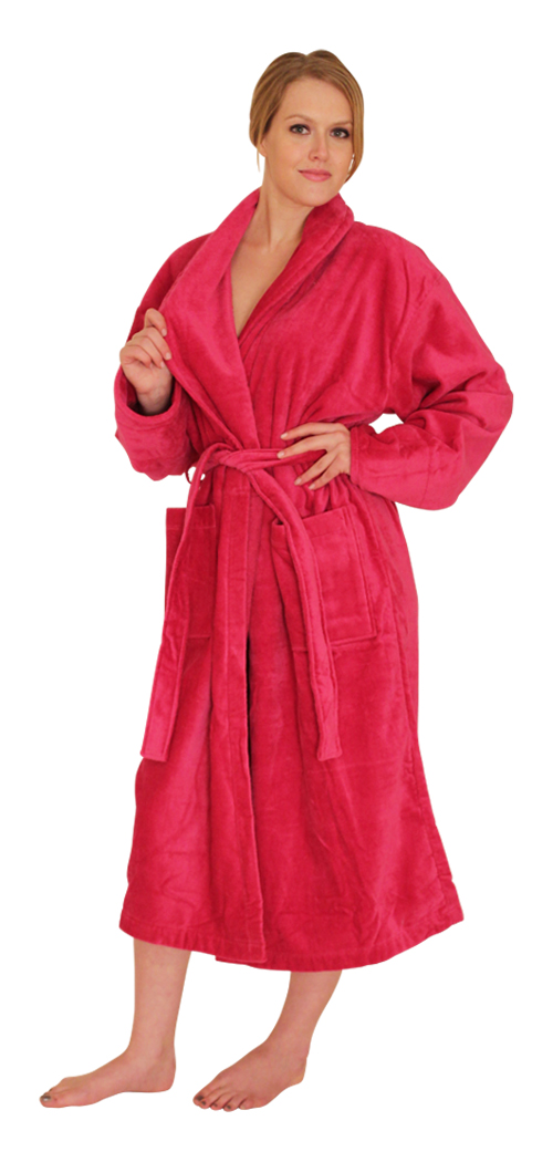 Men's & Women's Premier Turkish Terry Velour Bath Robe Colors: Fuschia-M Fuschia-L Fuschia-XL Yellow-L  Red-L Royal-Blue-L Royal-Blue-XL. Sizes: