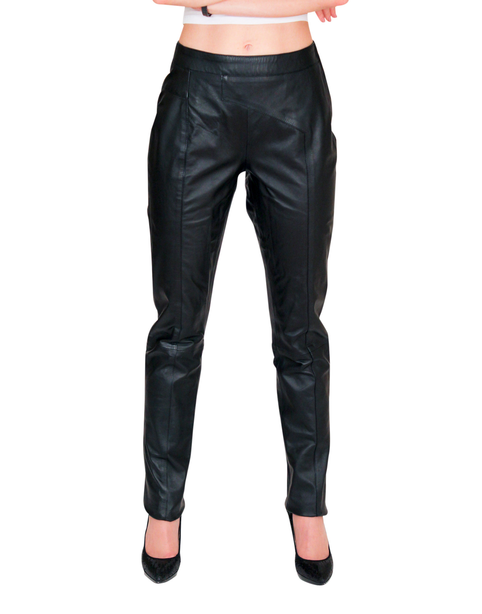 Colors: black. Sizes:  xxs xs s m l xl ... The low-rise lambskin asymmetrical fitted trouser is a nice addition to our women