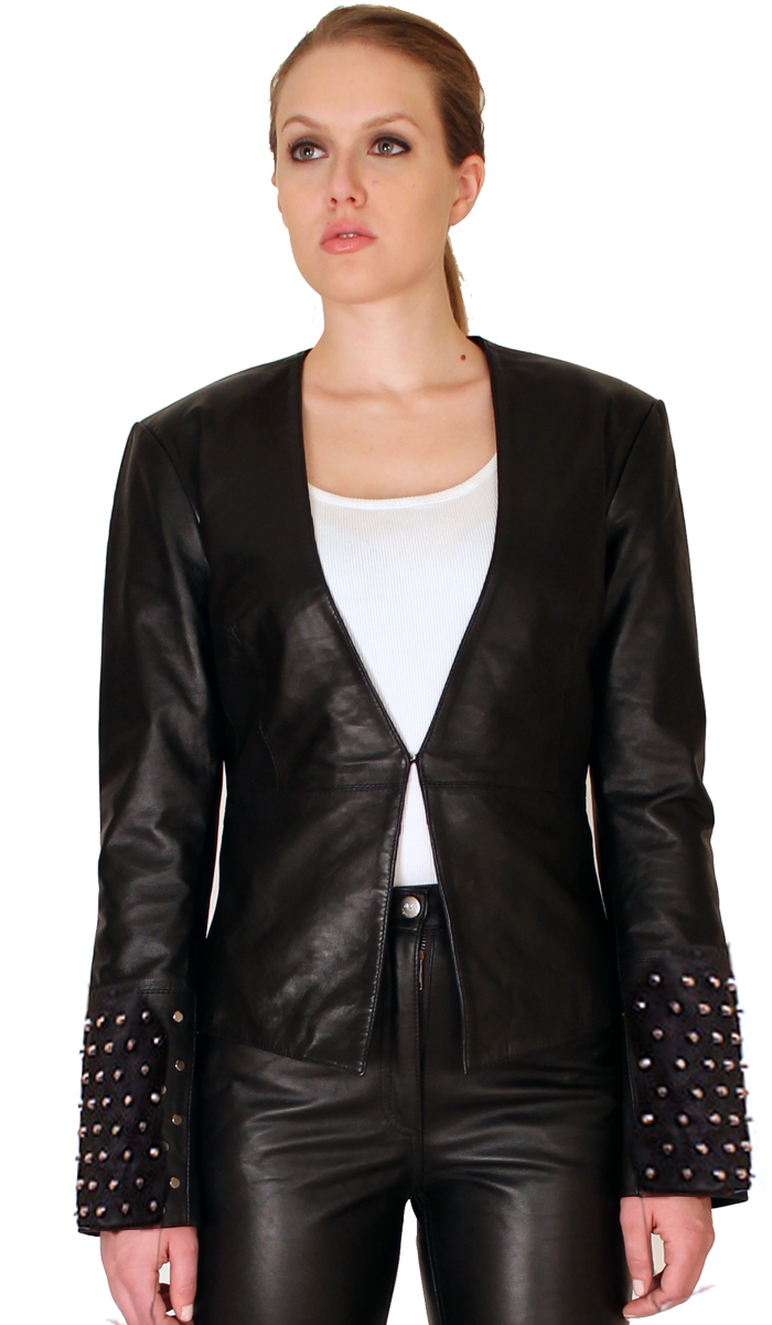 NDK New York Womens Trendy Lambskin Fitted Studded Blazer Colors: black. Sizes:  xxs xs s m l xl xxl ... The NDK New York Womens Trendy Lambskin Studded Blazer is a must have for a womens closet. Is sexy an
