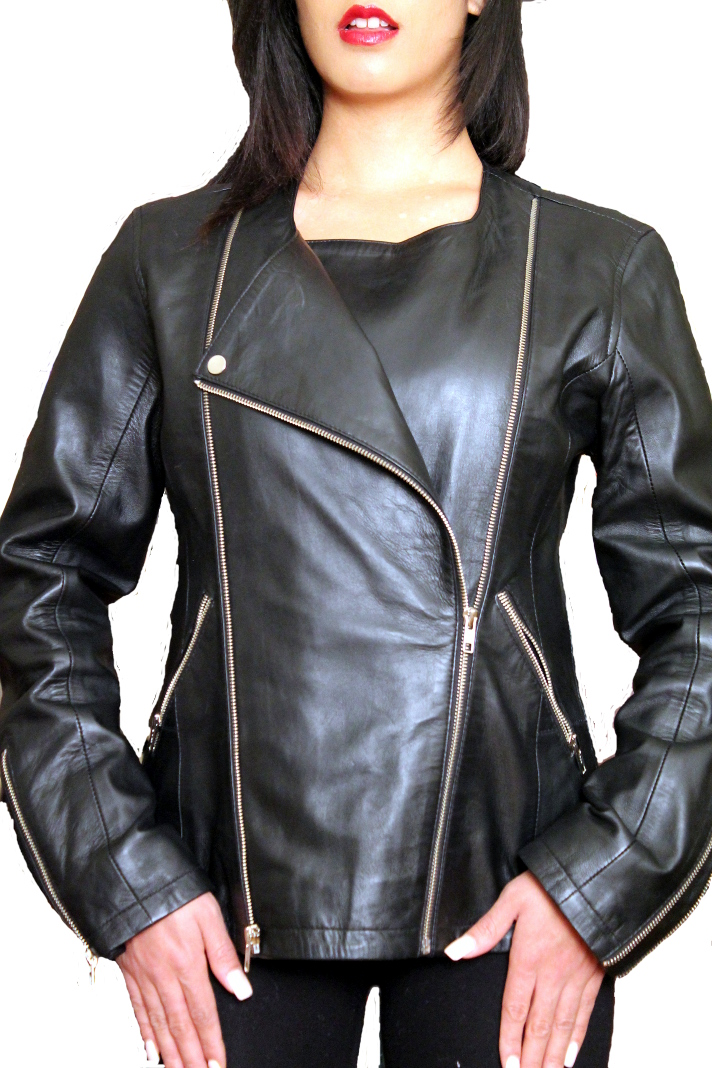NDK New York Timeless Women's Three In One  Lambskin Moto Jacket Colors: black brown. Sizes:  xxs xs s m l xl xxl