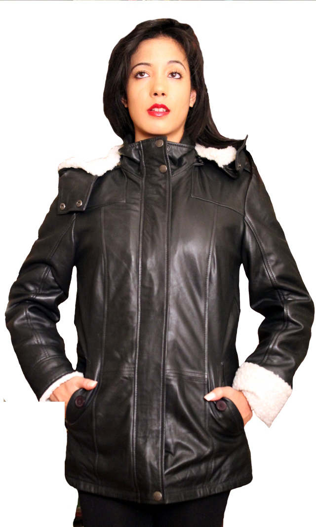 Womens Trendy Aviator Leather Coat With Detachable Hood Colors: black. Sizes:  xxs xs s m l xl