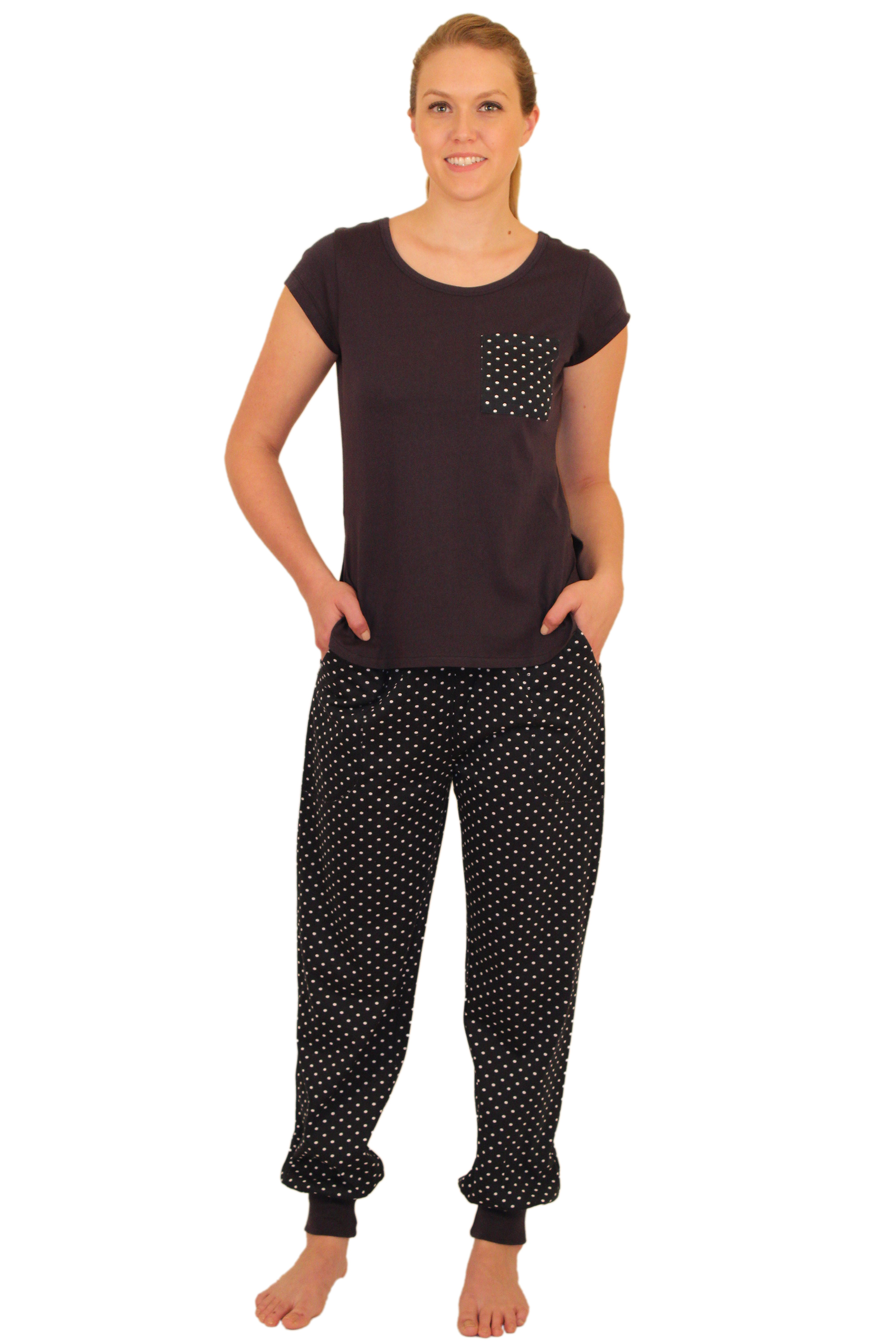 ApparelNY Stylish Knit Pajama Set with Stylish Tee-shirt and Cuffed Pants -$19.99 Colors: Floral Polkadots Solid. Sizes:  XS S M L XL ... ApparelNY Stylish Pajama sent. Cotton and Spandex blend. This stylish pajama set is perfect outfit fo