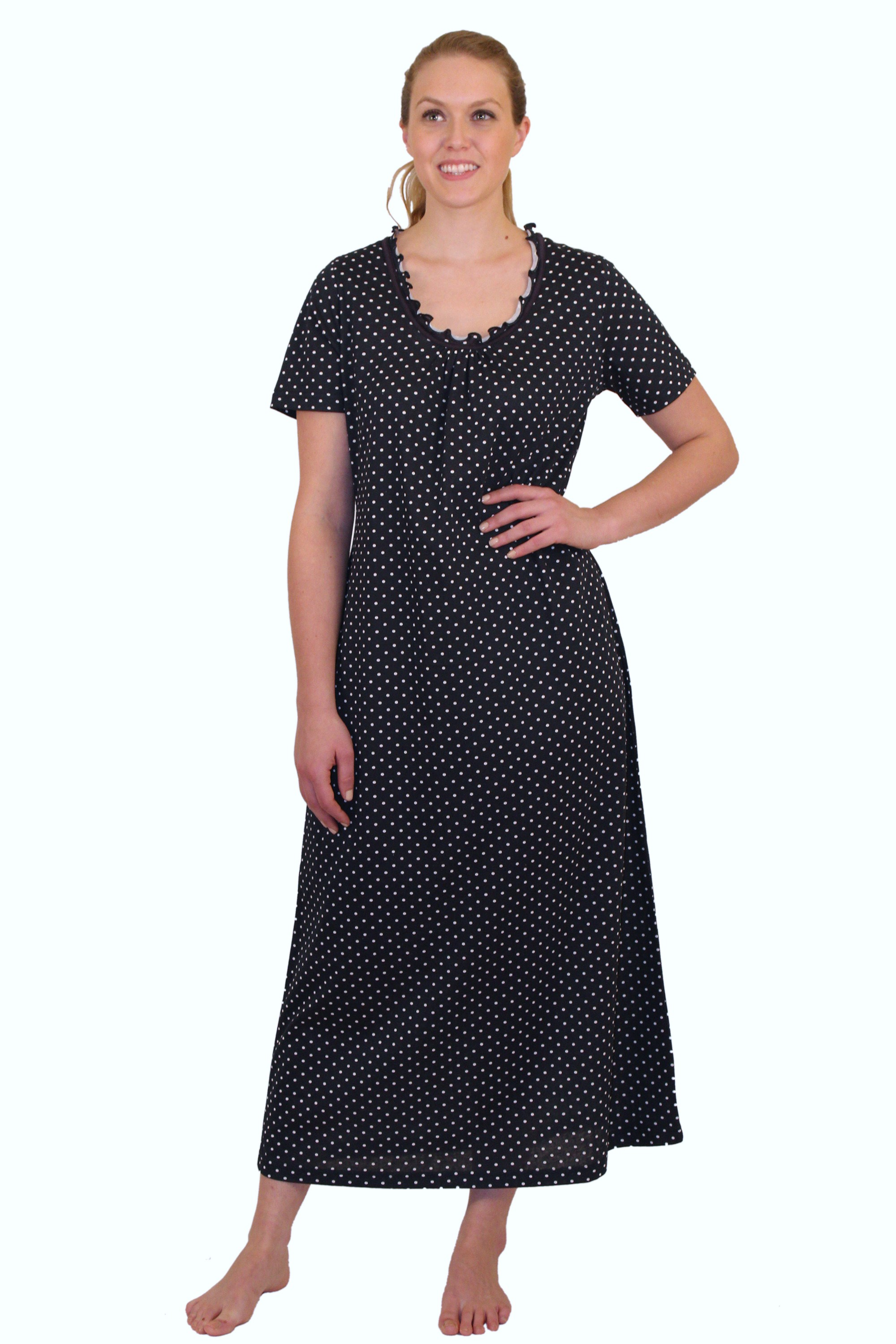 "ApparelNY Cotton Jersey Printed Night Shirt-Gown 52"" Length $15.99 Colors: Floral Polkadots Solid. Sizes:  XS S M L XL ... ApparelNY Stylish Night Gown 52� length. Cotton blend. This stylish night gown is perfect outfit for"