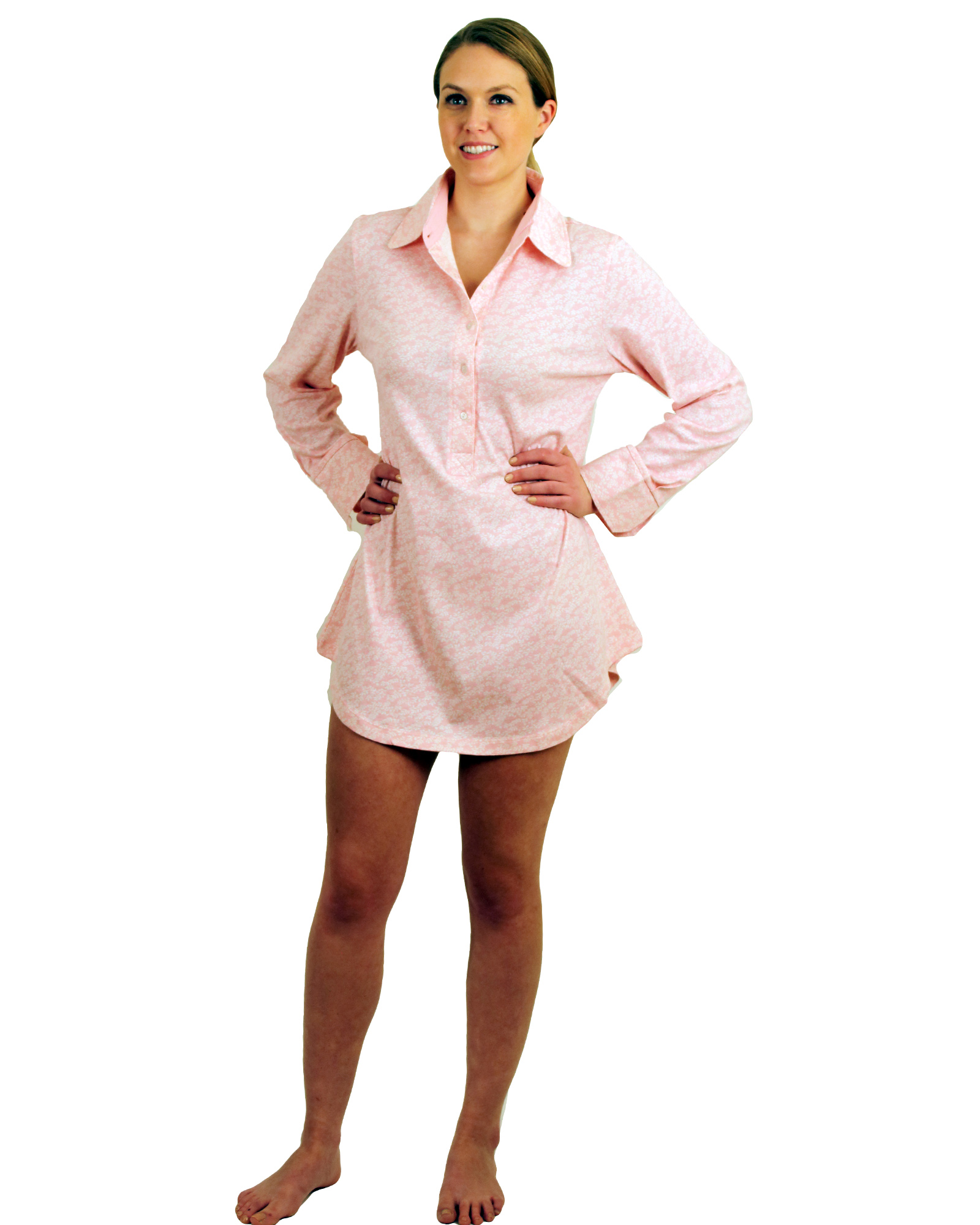 Cotton Jersey Printed Nightshirt With Buttons Placket - $15.99 Colors: Floral Polkadots Solid. Sizes:  XS S M L XL