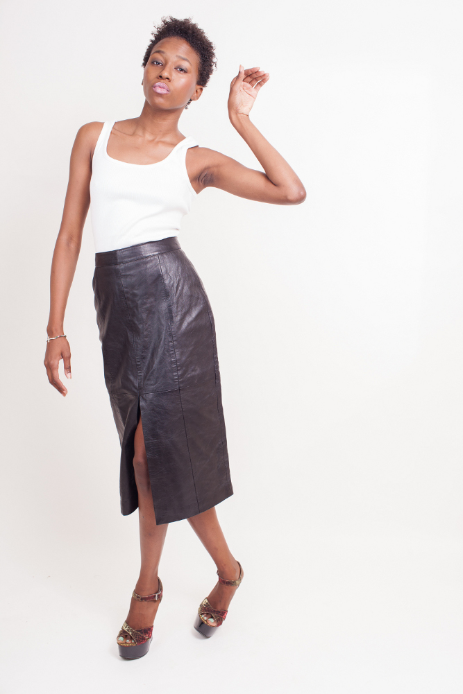 Women's Lambskin Lether Skirt (Calf Length) Colors: Black. Sizes:  X-Small Small Medium Large X-Large ... Women's calf length long lambskin leather skirt is 28 inches long. A very elegant skirt suitable