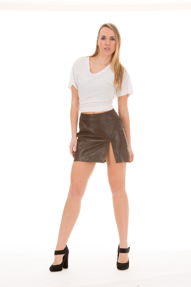 Fantastic Beautiful Woman Wearing Black Leather Skirt Stock Image  Image