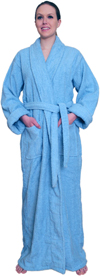 Full Length Terry Cloth Robe Long Sleeves 100% cotton $49.99 Colors: Mint-2X/3X Mint-L/XL Mint-S/M Navy-2X/3X Navy-L/XL Navy-S/M White-2X/3X White-L/XL White-S/M. Sizes:       Made from very fine yarn in medium weight terry cloth. This full length terry cloth robe makes ffor a