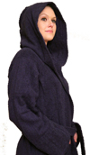 Hooded Terry Cloth Robe Long Sleeves  Mid Calf Length Colors: Navy-2X/3X Navy-L/XL Navy-S/M White-2X/3X White-L/XL White-S/M. Sizes:       Made from very fine yarn in medium weight terry cloth. The hooded robe is roomy with long sleeves and