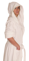 Hooded Terry Cloth Robe Long Sleeves  Mid Calf Length Colors: White-2X/3X. Sizes:       Made from very fine yarn in medium weight terry cloth. The hooded robe is roomy with long sleeves and