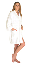 Swimsuit coverup; short terry bath robe - $24.99 Colors: Pink-L/XL Pink-S/M White-L/XL White-S/M. Sizes: