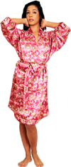 Satin Gown (Nightshirt) Printed Colors: Pink Blue. Sizes:  Small Medium Large X-Large 2XL 3XL     This floral print satin gown for women compliments our womens nightwear and loungewear line. Designed
