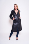 Women's Lambskin Leather Coat  - $150 Colors: Black. Sizes:  Medium Large X-Large 2XL.(+$20)     Women's lambskin long coat with front button closure. A very popular and versatile style where wo