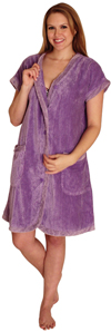 Chenille Robe with contrast facing, cuffs and pockets for $24.99 Colors: Lilac-2XL Lilac-3XL Lilac-L Lilac-M Lilac-XL Orange-S Pink-2XL Pink-3XL Pink-L Pink-M Pink-S. Sizes: