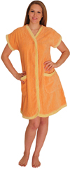 Chenille Robe with contrast facing, cuffs and pockets for $24.99 Colors: Lilac-M Lilac-S Orange-S Pink-S . Sizes: