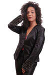 NDK New York Womens Trendy Lambskin Fitted Studded Blazer Colors: black. Sizes:  xxs xs s m l xl xxl