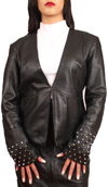 NDK New York Womens Trendy Lambskin Fitted Studded Blazer Colors: black. Sizes:  xxs xs s m l xl