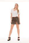 Women's Lambskin Leather Skirt Colors: MIni-Black Mini-Brown  KneeLength- Black. Sizes:  Medium Large X-Large 2XL (+$10)     Women's 16 long lambskin leather skirt. A very elegant skirt suitable for wearing at parties or o