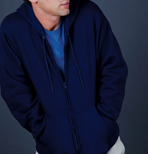 fruit of the loom super cotton cotton-rich hooded zip sweat for 27.91 Colors: Athletic-Heather Black J-Navy. Sizes:  S M L XL 2XL(+$2)     82230m - fruit of the loom super cotton. 12 oz. 70% cotton/30% polyester. one-ply hood with double-ne
