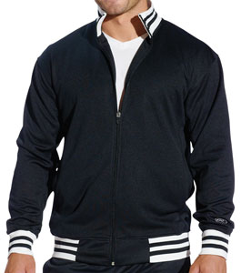 rawlings track jacket for 31.06 Colors: Black/white Navy/white Red/white Royal/white. Sizes:  S M L XL 2XL(+$2)     9713m - rawlings. 100% polyester. double knit. contrasting stripes on rib collar, cuffs and waistband
