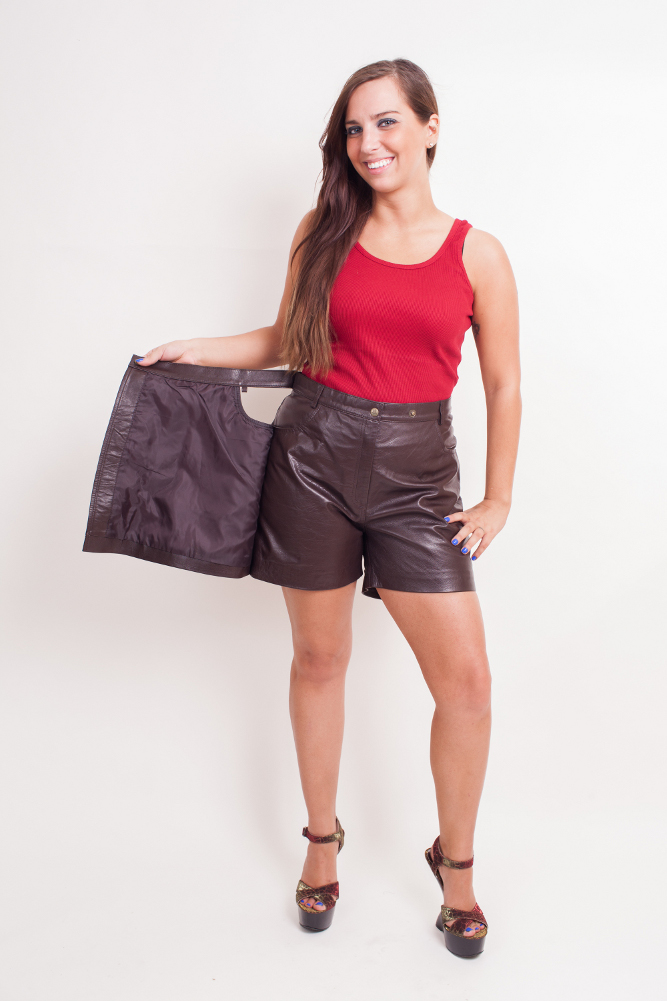 Women's Lambskin Leather Skort  - $65  Black BrownMedium Large X-Large 2XL (+$10)     Women's lambskin skort ( a combination of short and skirt.The lambskin is of very high quality, a soft texture and is very popular amongst women looking for atyle and elegance. 100% nylon Lining inside. Imported.