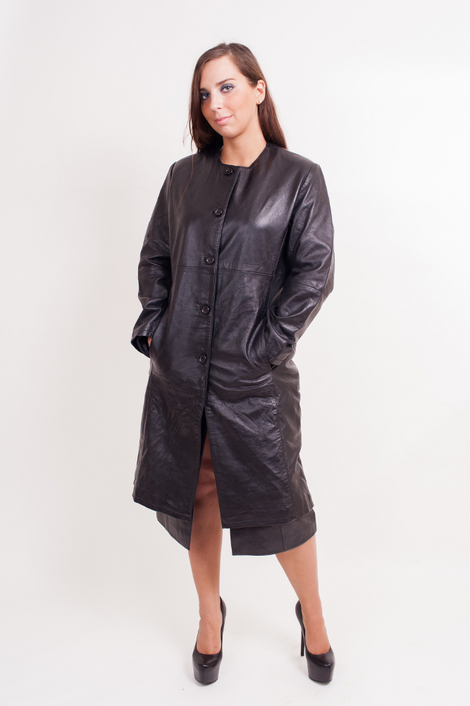Women's Lambskin Leather Coat  - $150  Black Medium Large X-Large 2XL.(+$20)     Women's lambskin long coat with front button closure. A very popular and versatile style where women also use it as a long shirt. The lambskin provides a very soft and elegant texture. 100% nylon Lining inside. Imported